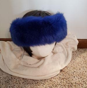 Accessories - NEW! Fox Fur Headband Blue Plush Large